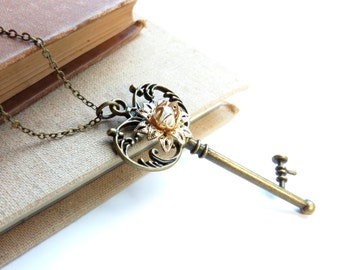 Key Antique Brass Necklace