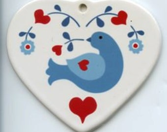 Ceramic Heart Ornament - Scandinavian Folk Art Bluebird #570