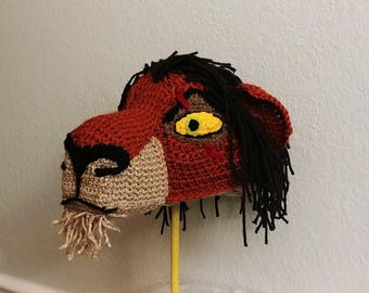 Crochet Scar the Lion Hat - crochet Lion King hats - hats for boys - hats for girls - Halloween Costume hat