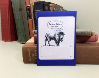 Buffalo book plates. Funny bookplates or ex libris. Personalize it with your custom text. 17 book plate stickers plus envelope.