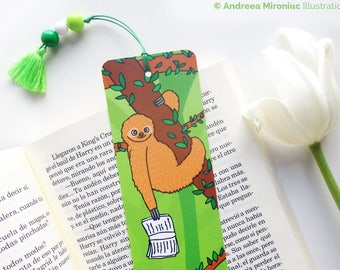 Sloth Bookmark, Cute Stocking Stuffer Bookmark, Illustrated Tassel Bookmark, Gift For Readers, Bookmark for Book Lovers, Bookmark for Kids