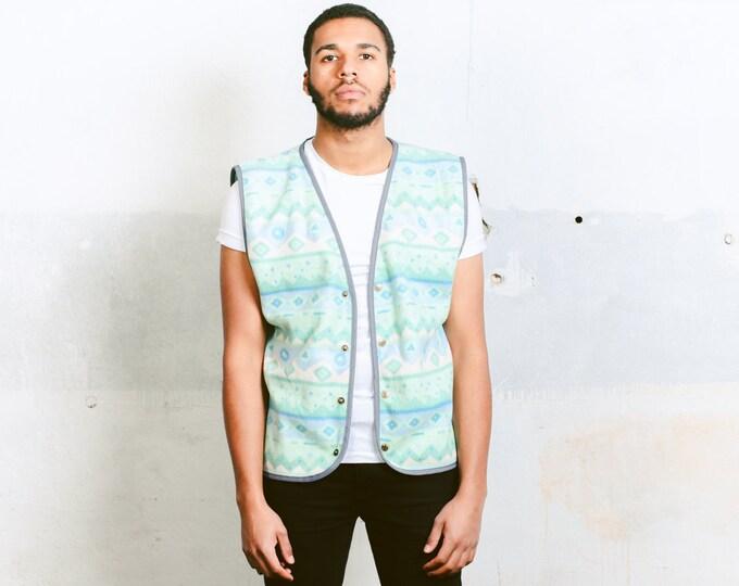 Men's Aztec Pattern Fleece Vest . Vintage 80s Mens Ethnic Top Unisex Patterned Vest Fleece Waistcoat 1980s Sleeveless Jacket . size Medium M