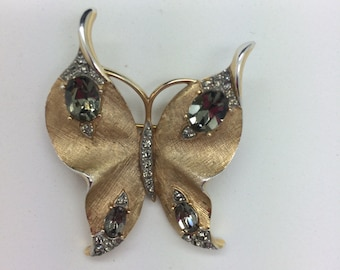 CROWN TRIFARI BUTTERFLY Brooch Vintage Brushed Gold Tone Smoky Rhinestones *Free Shipping*