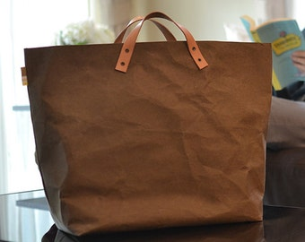 Shopping Tote : Kraft paper shopping tote bag/market bag/handbags/washable,lightweight and eco friendly