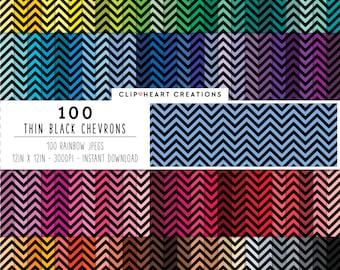 100 black chevron paper, Digital paper, Commercial use, thin chevron, digital chevron paper, digital scrap booking paper, chevron paper