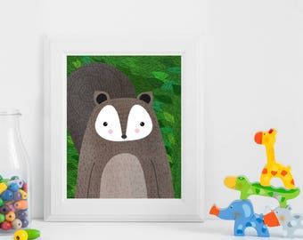 Squirrel, Woodland Animals, Woodland Critters, Nursery, Animal Wall Art, Kids Room, Animals, Print