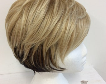 Golden blonde with dark nape  synthetic full wig