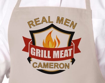 Ready to Ship, Real Men Grill Meat, Personalized Grilling, Barbecue or BBQ Apron, Father's Day Gift, Birthday Gift, Gift For Men APR-005