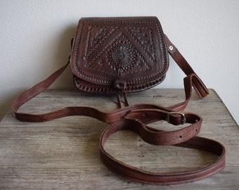 Handmade bag genuine leather, Moroccan leather handbag, Vintage women bag, Leather crossbody bag, Boho chic bag, Cow leather bag, Brown bag