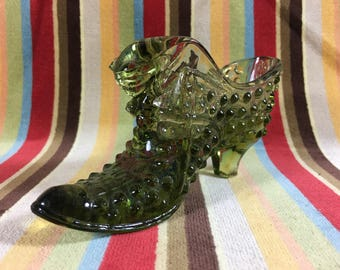 Vintage Fenton Green Glass Honnail Shoe