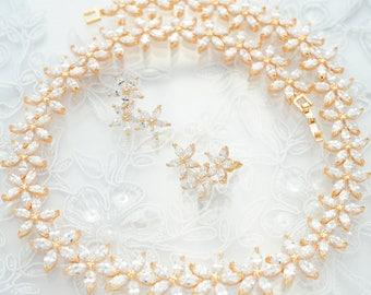 Flower Wedding Jewelry Set Rhinestone Bridal Jewelry Set Wedding CZ Gold Set Earring with Necklace Bridal Wedding Necklace Set Clear Crystal