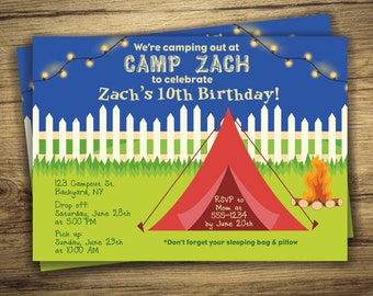 Girl scout invite etsy campout birthday party invitation backyard campout invite camping sleepover boy girl filmwisefo Image collections