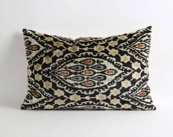 Ikat velvet cushion cover, 16x24 Bohemian pillow, handwoven hand-dyed pillow