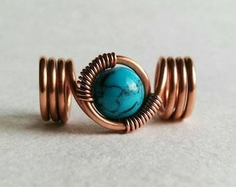 Loc jewelry, copper wire dreadlock bead with turquoise, handmade dread bead, braid bead, hair bead, boho hair jewelry, dreadlock accessories