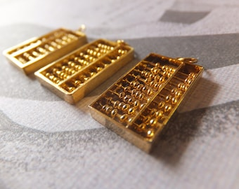 Abacus, Gold Vermeil, Vintage, Articulated Charm, 3D, Mathematics, Counting, Disk Counter, Gold Filled Sterling Silver