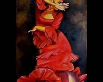 Original Oil Painting Flamenco Dancer - Large Size - Tango Passion Dancer - Latin Woman Dancing - Figurative Painting - Red Dress