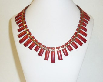 Vintage MATISSE RENOIR Red Enamel Copper Necklace Modernist Statement Bib Signed Designer Choker