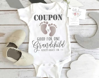Pregnancy Announcement, Coupon Baby Reveal, Pregnancy Reveal Onesie®, Expecting Baby shirt, Baby Announcement, Baby Reveal, New Grandparents