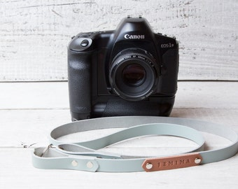Personalized leather camera strap. Light blue color. Monogram personalization. Perfect gift for photographer.