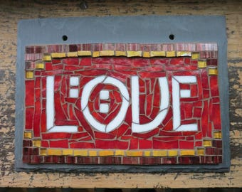 MADE TO ORDER Love Sign Mosaic on Slate in Arts and Crafts Style