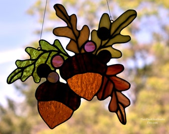 Stained Glass Suncatcher, Oak Leaves and Acorns w Berries, Fall Decoration, Autumn Colors, Stain Glass leaf, Acorns, Fall Sun Catcher