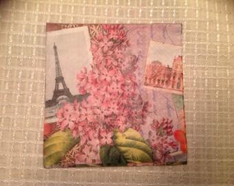 """Paper napkin for decopage. Springtime in paris. 3 ply. 4 7/8"""" x 4 7/8"""" per square. Open 9 3/4"""" x 9 3/4""""."""