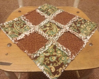 Rag Quilt Brown Teal Gold Paisley Candle Mat Table Topper Runner