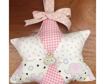 Baby girl patchwork hanging star