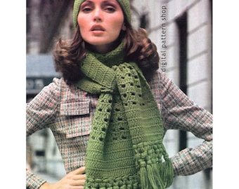Crochet Hat & Scarf Pattern, Womens Winter Cap and Scarf Crochet Pattern Caning Stitch Instant Download PDF Pattern - C82