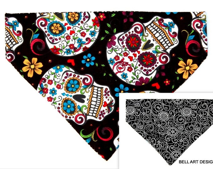 DOG BANDANA ~ Over the Collar ~ Reversible ~ Day of the Dead, Floral Skulls ~ Bell Art Designs ~ Small DCS573