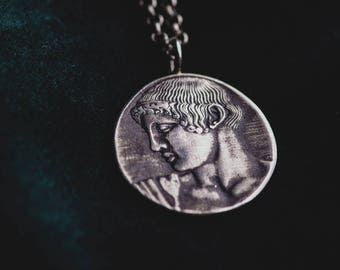 God Apollo Sterling Silver Pendant-Ancient Greek Inspired Necklace-Greek God Necklace-Replica Coin Pendant-Greek God Medallion