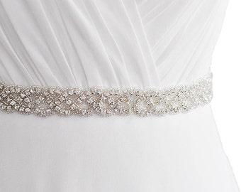 Luxury Rhinestone  Bridal Sash Belt Satin Ribbon Wedding Dress Ivory / white / Silver