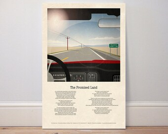 Music poster 'The Promised Land' 1978 Springsteen classic lyric poster print