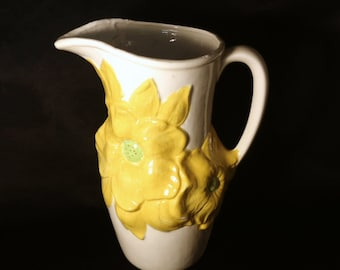 Vintage Holland Mold Vase/Pitcher, Yellow Floral Design