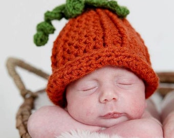 3-6 Months Baby Pumpkin Hat, Pumpkin Hat, Baby Fall Hat, Fall Baby Crochet PHOTO PROP