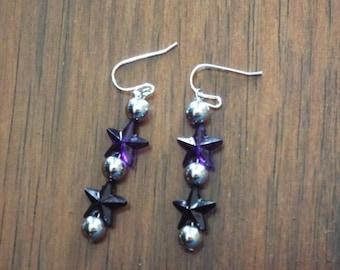 Purple Star Dangle Earrings