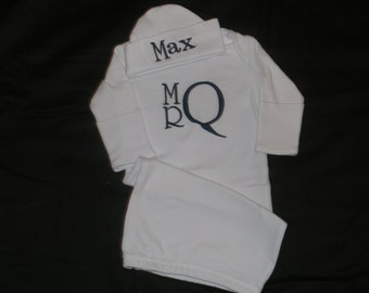 Monogrammed Newborn Gown and Cap set - Personalized Baby Boy or Girl Gift Set - Coming home from the Hospital Outfit