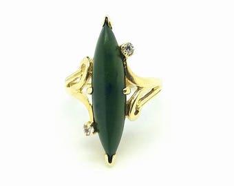 Vintage 18K Solid Yellow Gold Dark Green Jade Ring Size 6