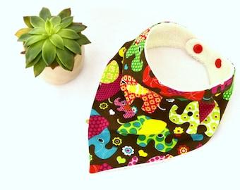 Colorful elephant bandana bib, baby bib (0/6 months)
