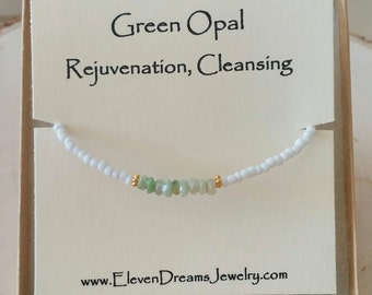 Green Opal and White Seed Bead Meaning Bracelet. Gold. Personalize. Initial. Rejuvenation. Cleansing. Spiritual. Gift. Meaningful. Arm candy