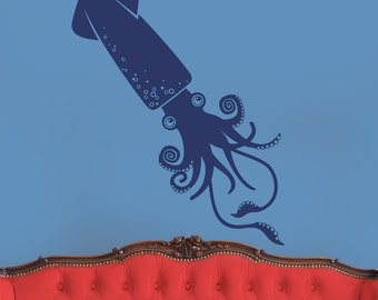 squid wall decal art, cephalopod sticker art, tentacles, nautical wall decal, undersea wall decal, FREE SHIPPING
