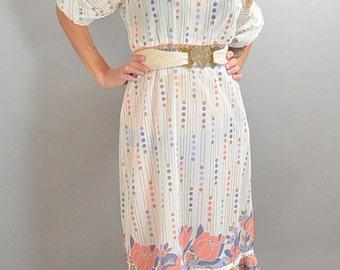 70s Secretary Dress// Ruffly Secretary Dress// Spring 70s Dress (F1)