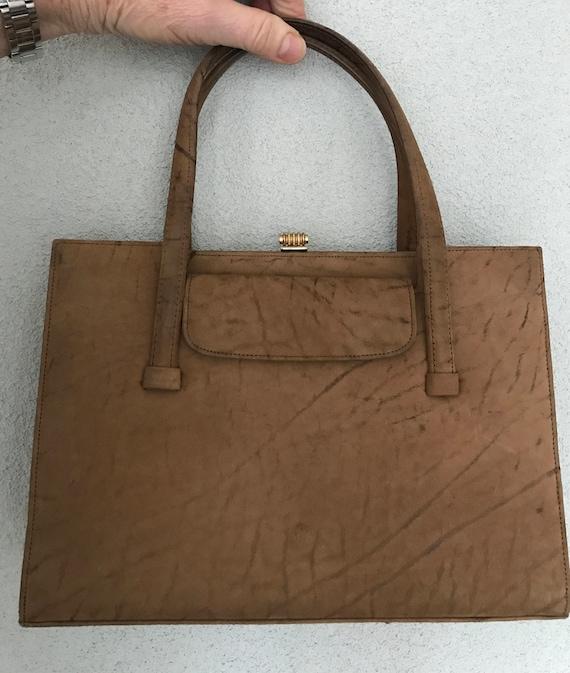 Vintage stylish camel nubuck leather seventies handbag