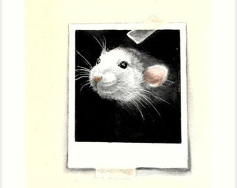 Polaroid Rat Cuteness artwork in watercolor paint on thick textured paper by Helga McLeod