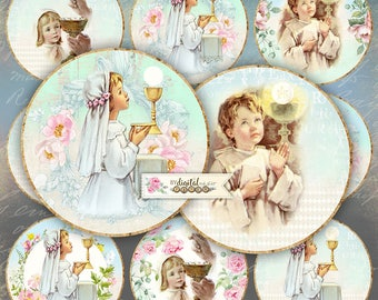 Holy Communion - 2,5 inch circles - set of 12 - digital collage sheet - pocket mirrors, tags, scrapbooking, cupcake toppers
