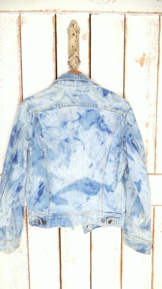 Lee fit distressed jean jacket loose Lee sun faded jacket Vintage jean blue bleached denim 1PgRpq