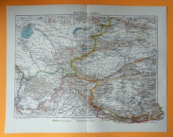 1900 CENTRAL ASIA Antique Map. Afghanistan, Tibet, Turkestan... 115 years old chart!
