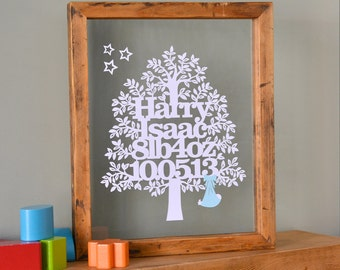 New Baby Tree Papercut/Personalised/Gift For Newborn/Baby Name/Wall Art/Personalized/Christening/Naming Ceremony/Paper Cut Family Tree