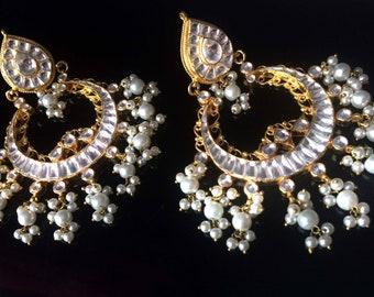 Gold kundan earrings,White kundan Pearl Chandelier Earrings,gold Indian Jewellery,Real gemstone earrings, Mughal jewellery by Taneesi.