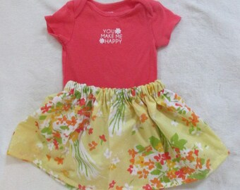 "Eco-Friendly Summer Pretty 6 Month Girls Orange ""you make me happy"" onesie with handmade skirt Unique Boutique"